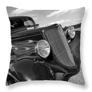 Summertime Blues In Black And White - Ford Coupe Hot Rod Throw Pillow