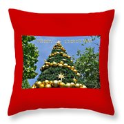 Summertime Christmas With Text Throw Pillow by Kaye Menner