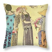 Summertime Dress Designs By Paul Poiret Throw Pillow by French School