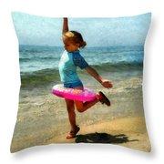 Summertime Girl Throw Pillow