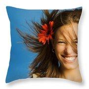 Summery Model Throw Pillow