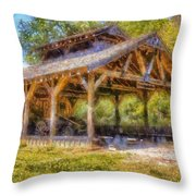 Summey Casting Shed Throw Pillow by Daniel Eskridge