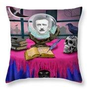 Summoning Edgar Allan Poe Throw Pillow