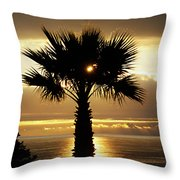 Sun And Palm And Sea Throw Pillow