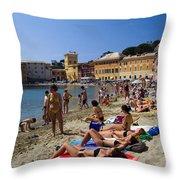 Sun Bathers In Sestri Levante In The Italian Riviera In Liguria Italy Throw Pillow