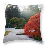 Sun Beams At Japanese Flat Sand Zen Garden Throw Pillow