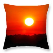 Sun Blast Over Whidbey Island Washington State Throw Pillow