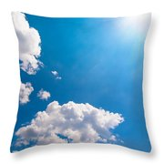 Sun Burst On A Blue Sky And Clouds Throw Pillow