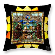 Sun Burst Stained Glass Throw Pillow