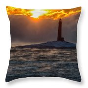 Sun Climbing Over Thacher Island Lighthouse Throw Pillow