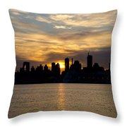 Sun Comes Up On New York City Throw Pillow