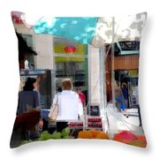 Sun Dappled Umbrella - Cool Fruit On A Hot Day Throw Pillow
