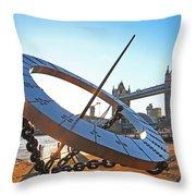 Sun Dial And Tower Bridge London Throw Pillow