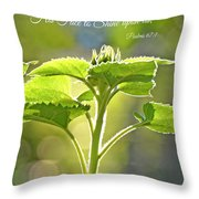 Sun Drenched Sunflower With Bible Verse Throw Pillow by Debbie Portwood