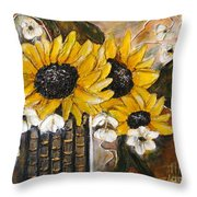 Sun Flowers Throw Pillow by Elena  Constantinescu