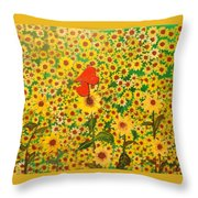 Sun Flowers Field With Two Hearts Forever Connected By Love Throw Pillow