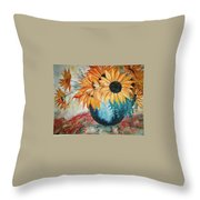 Sun Flowers Throw Pillow