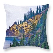 Sun Notch On A Rainy Day At Crater Lake National Park-oregon Throw Pillow