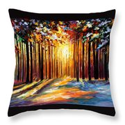 Sun Of January - Palette Knife Landscape Forest Oil Painting On Canvas By Leonid Afremov Throw Pillow