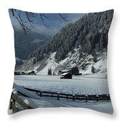 Sun On A Snowy Meadow Throw Pillow