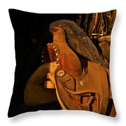 Sun On Leather Horse Saddle In Tack Room Equestrian Fine Art Photography Print Throw Pillow