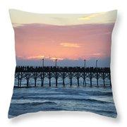 Sun Over Crowed Pier Throw Pillow