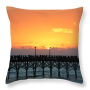 Sun In Clouds Over Pier Throw Pillow