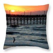 Sun Over Pier And Bird In Surf Throw Pillow