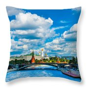 Sun Over The Old Cathedrals Of Moscow Kremlin Throw Pillow