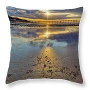 Sun Ray Sunset Saltburn Throw Pillow