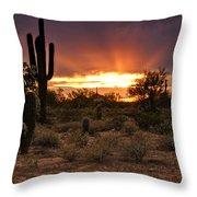 Sun Rays Over The Sonoran Desert  Throw Pillow