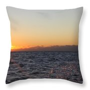 Sun Rising Through Clouds In Rough Waters Throw Pillow