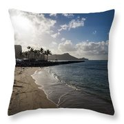 Sun Sand And Waves - Waikiki Honolulu Hawaii Throw Pillow