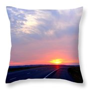Sun Set Going Home On The Toll Road Throw Pillow