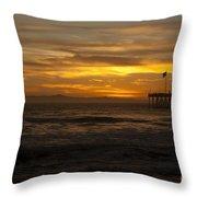 Sun Setting Behind Santa Cruz With Ventura Pier 01-10-2010 Throw Pillow