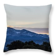 Sun Setting Behind The Mountains Throw Pillow