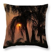 Sun Setting Behind The Queen Palm Covered In Smoke Throw Pillow
