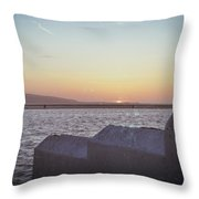 Sun Setting Over Wales Throw Pillow