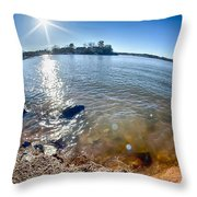 Sun Shining Over Lake Wylie In North Carolina Throw Pillow