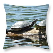 Sun Stretching Turtle And Youngster Throw Pillow