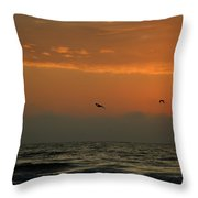 Sun Up With Birds Throw Pillow