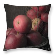 Sun Warmed Apples Still Life Square Throw Pillow