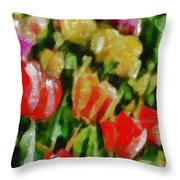 Sunbathing Tulips Throw Pillow