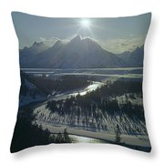 1m9313-sunburst Over Grand Teton, Wy Throw Pillow