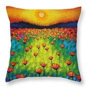 Sunburst Poppies Throw Pillow