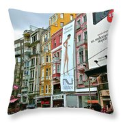Sunday Afternoon On Pedestrian Walkway In Istanbul-turkey Throw Pillow