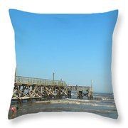 Sunday At Surfside Pier Throw Pillow