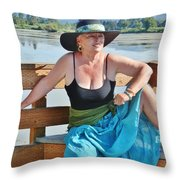 Sunday Lakeside  Throw Pillow
