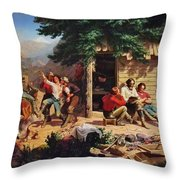 Sunday Morning In The Mines Throw Pillow by Charles Nahl
