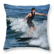 Sunday Morning Surfing Throw Pillow